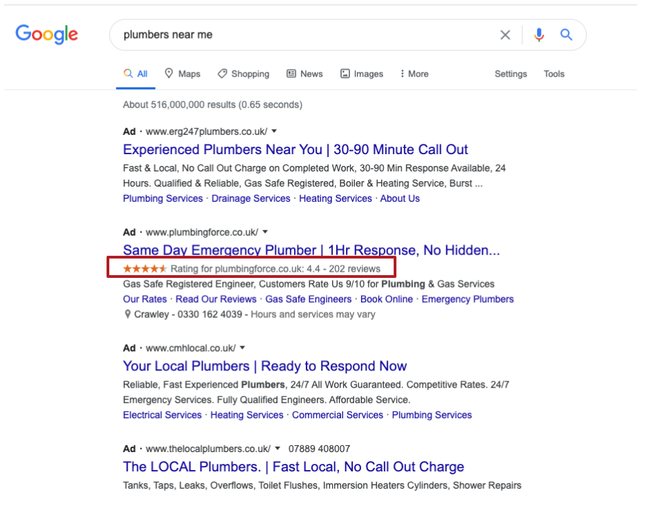 Screenshot Example of Seller Ratings on Google Ads, How to Setup Seller Ratings - WeDiscover, Paid Search Marketing Agency London