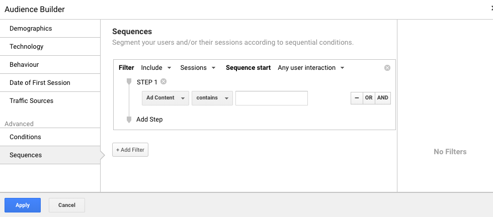 Google Analytics Create Advanced Condition Sequences Audiences - WeDiscover, Paid Search Marketing Agency London