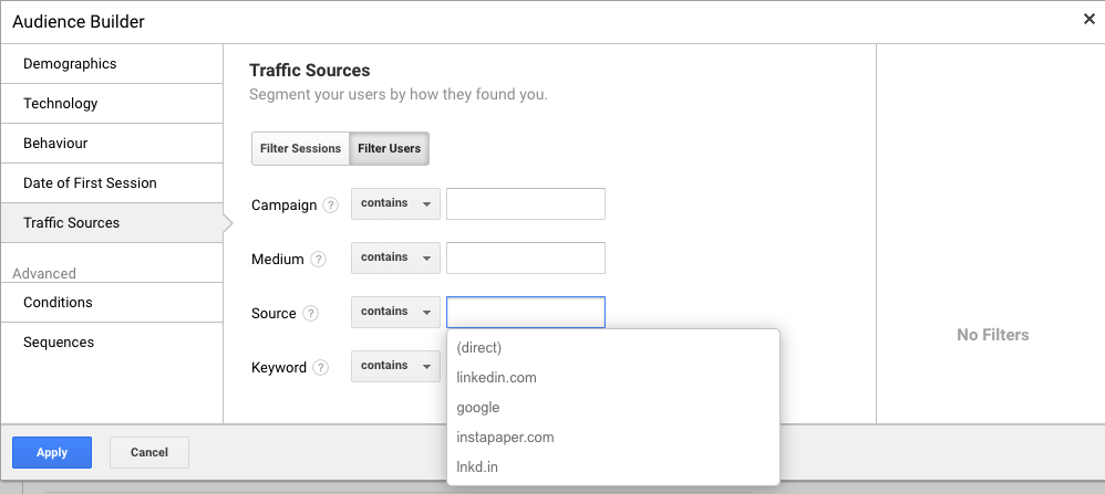 Google Analytics Create Audiences by Traffic Source such as Medium, Campaign, Source, Keyword, Referrer - WeDiscover, Paid Search Marketing Agency London