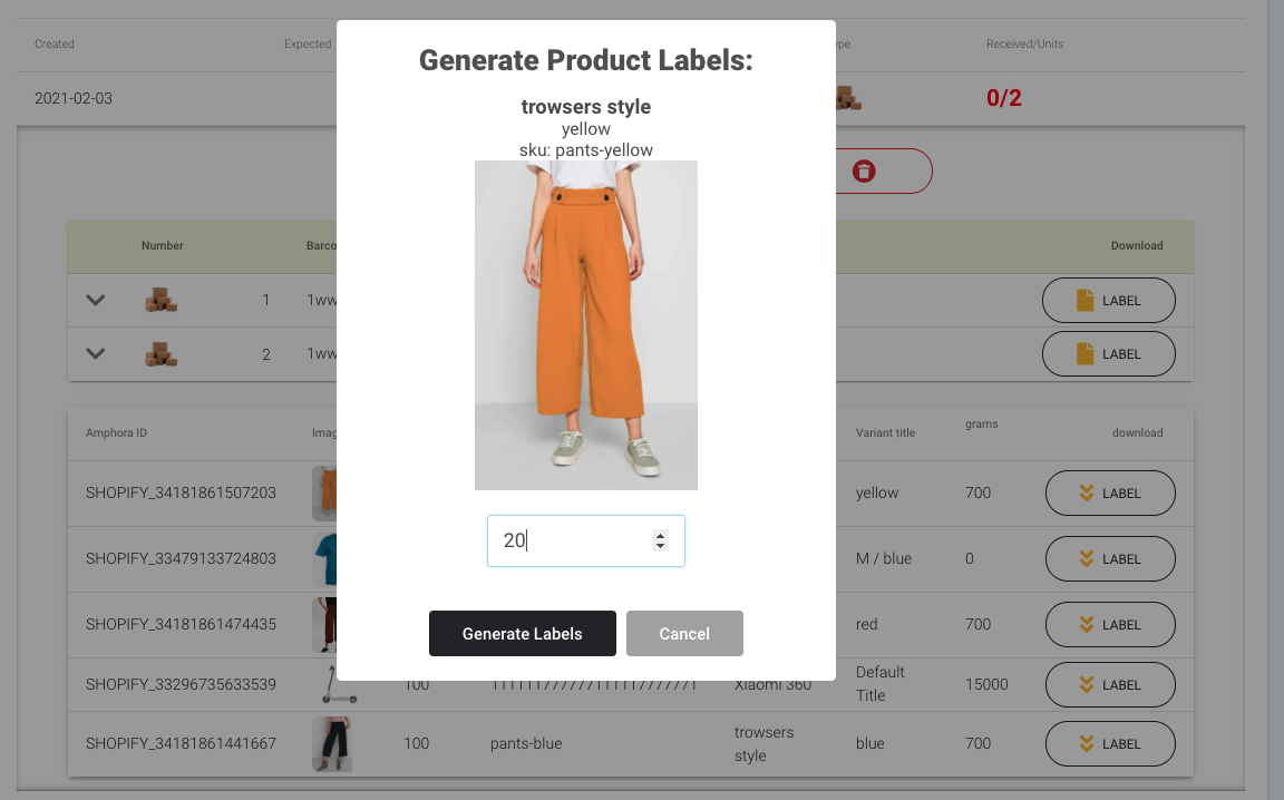 generate product labels page