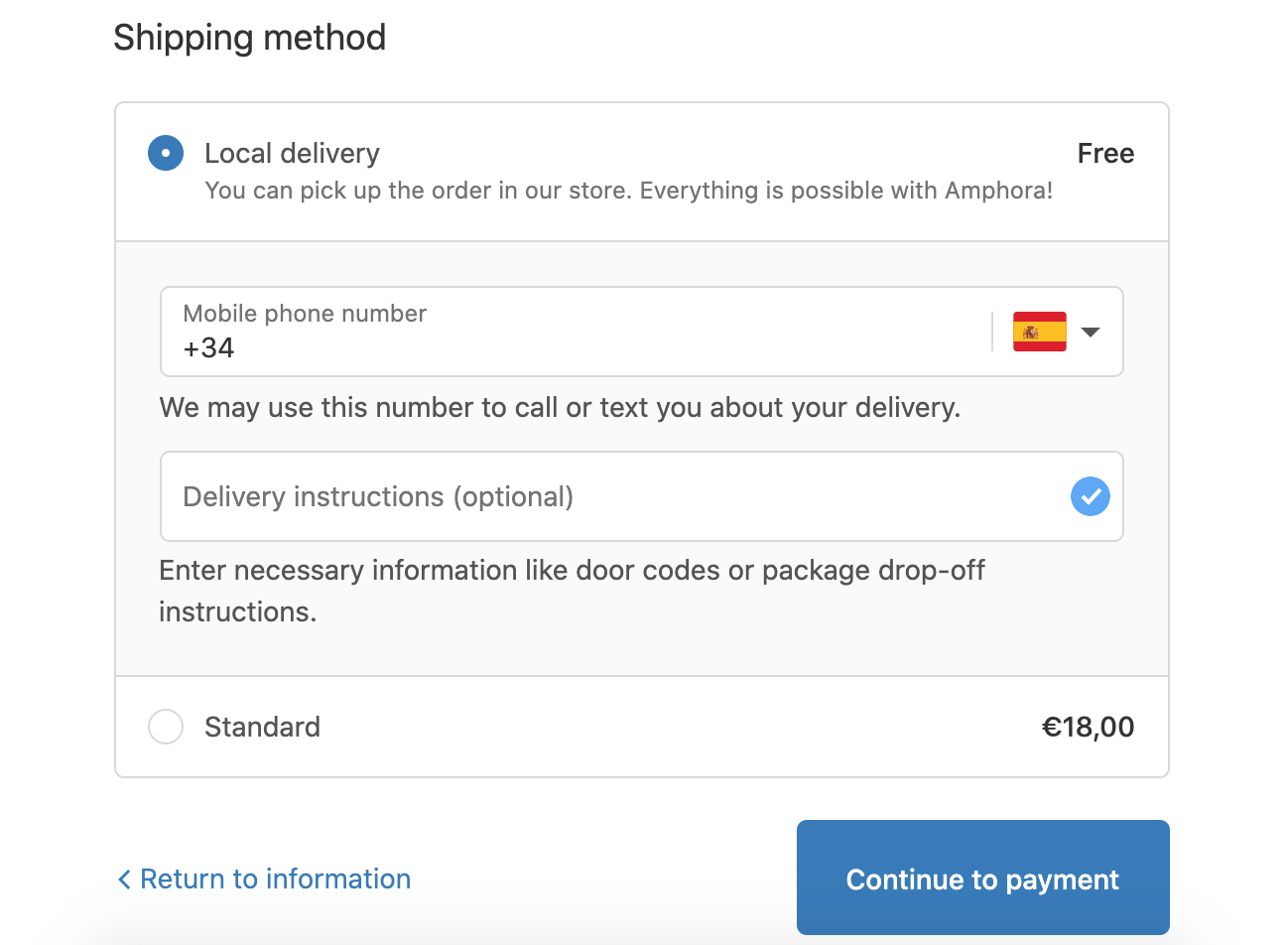 Local delivery checkout message