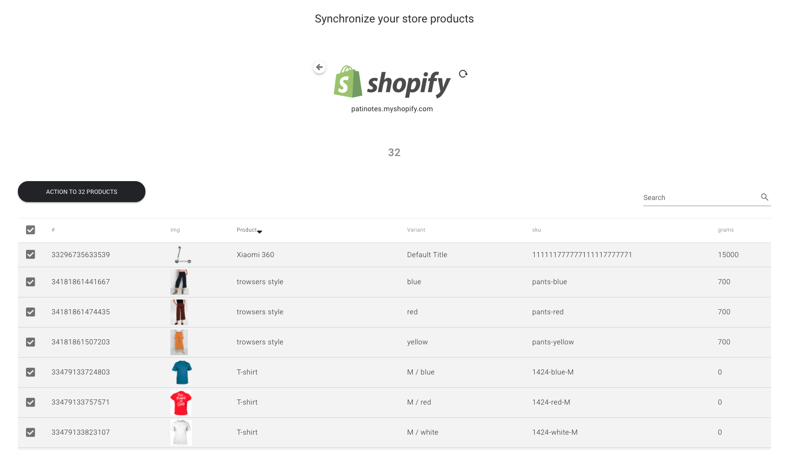 sync shopify products