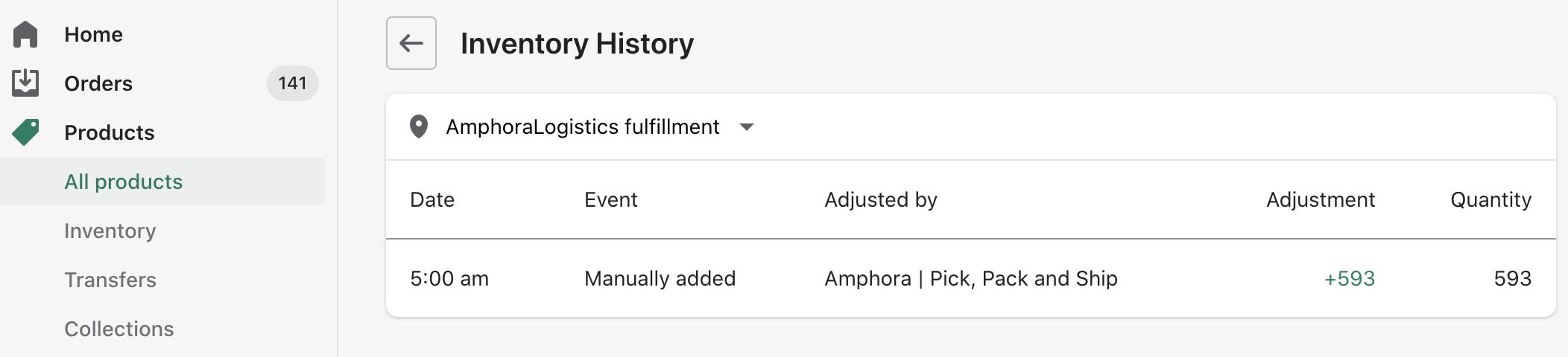 Add amphora logistics inventory