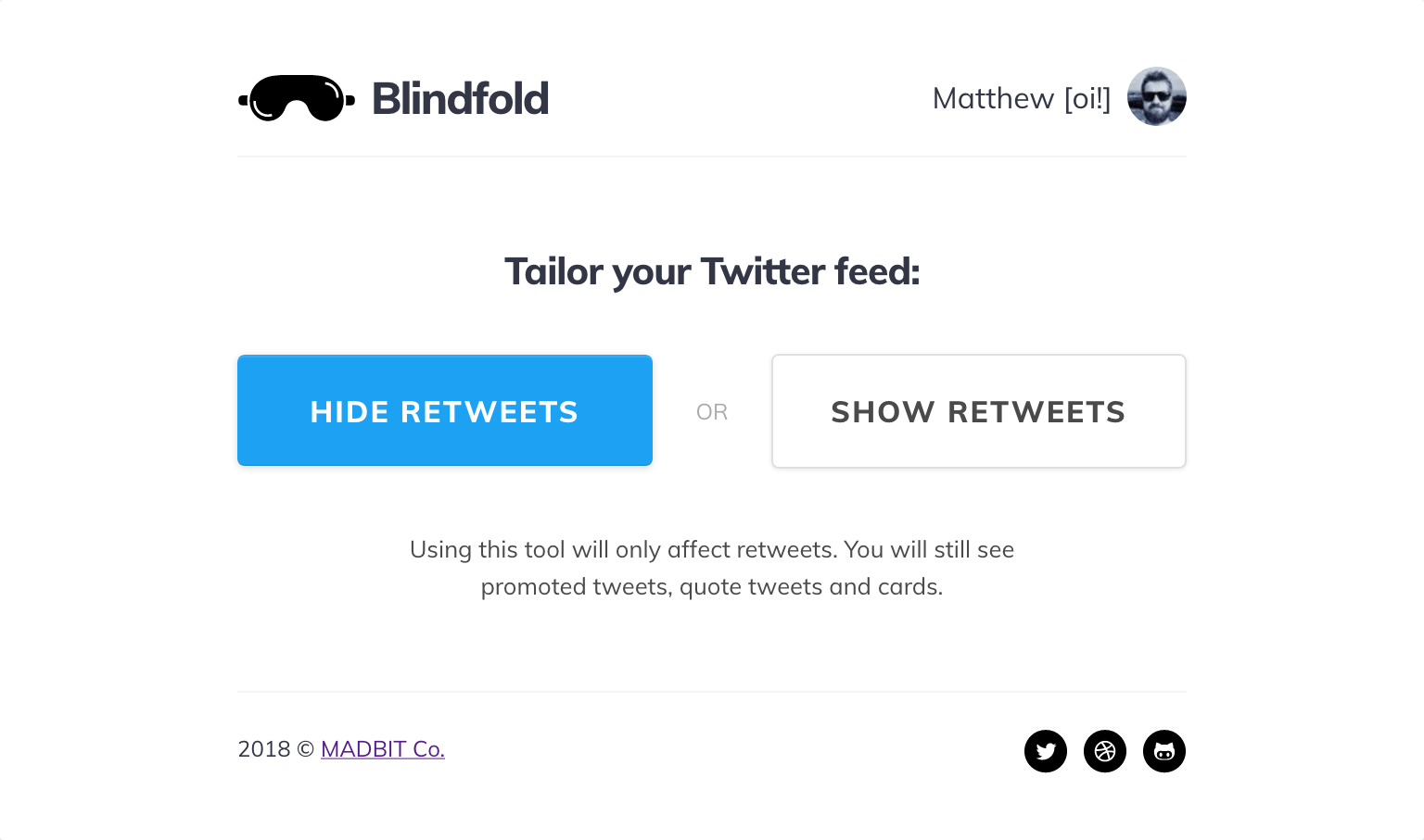 Default Blindfold screen after signing in with a Twitter account.