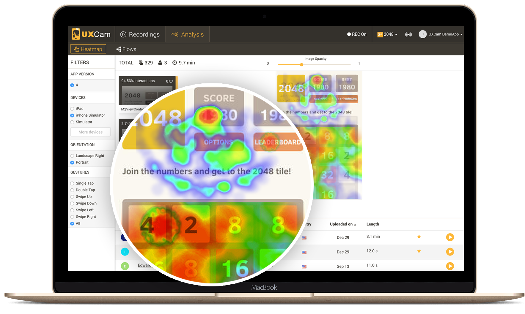 An example of heatmap testing in practice, where we can analyse how people interact with our interfaces.