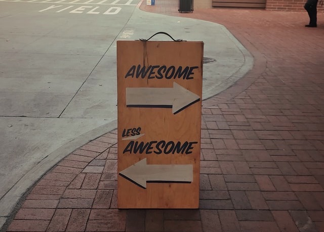 Sign on street used to track customer feedback