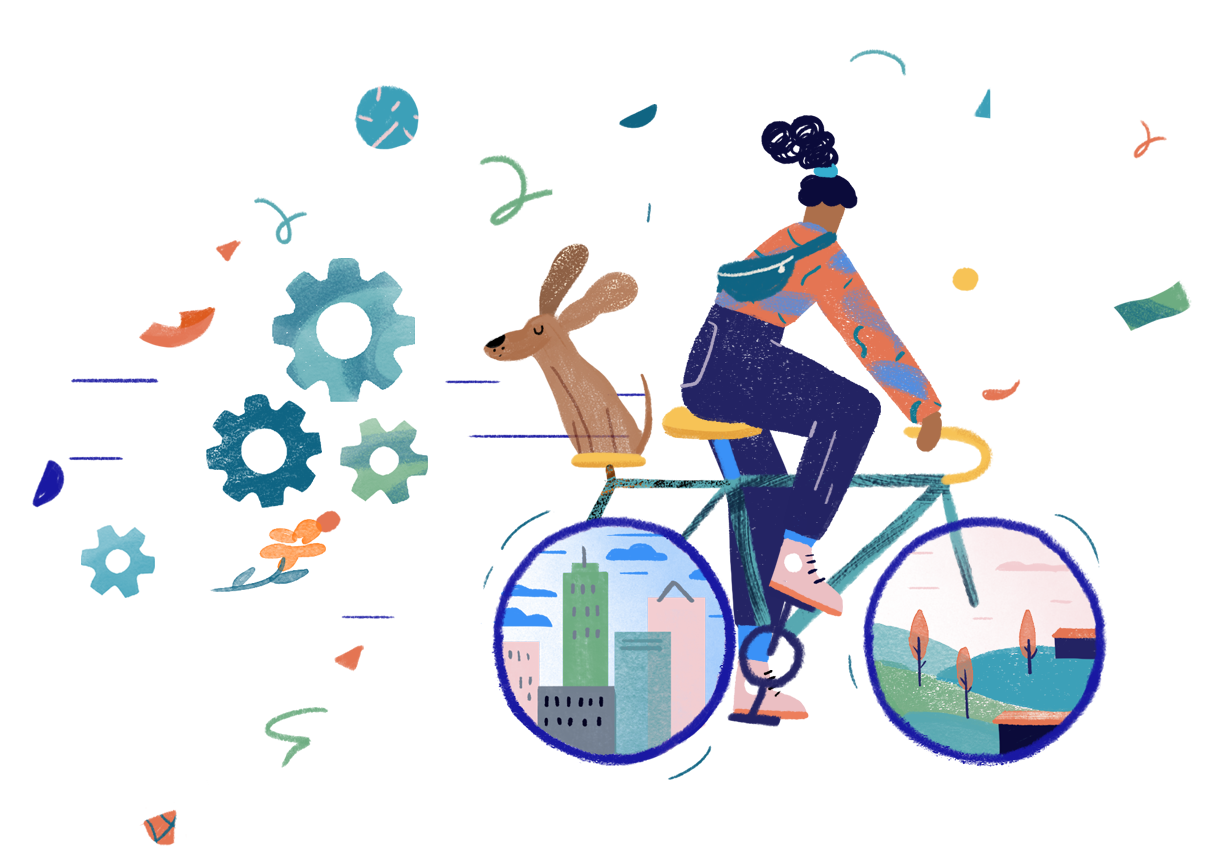 Illustration of woman on bicycle