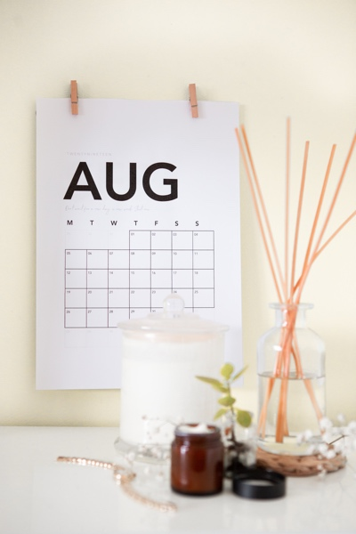 Calendar on wall