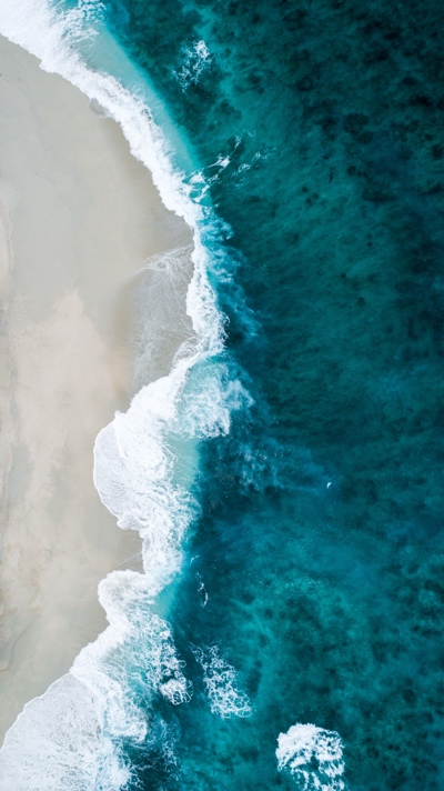 An aerial view of a sea shore