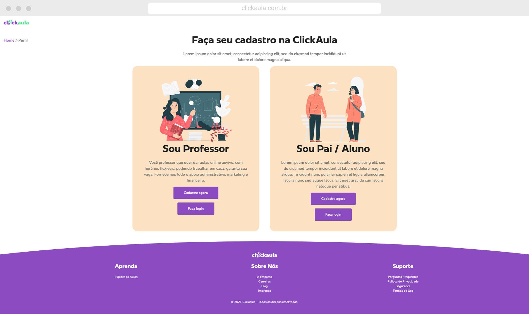 ClickAula - screen