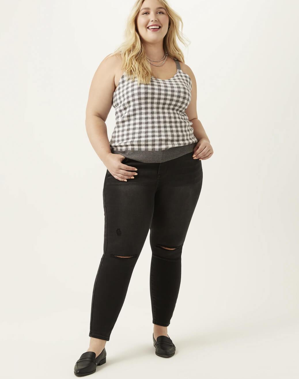 Plus Woman in Plaid Tank and Black Jeans