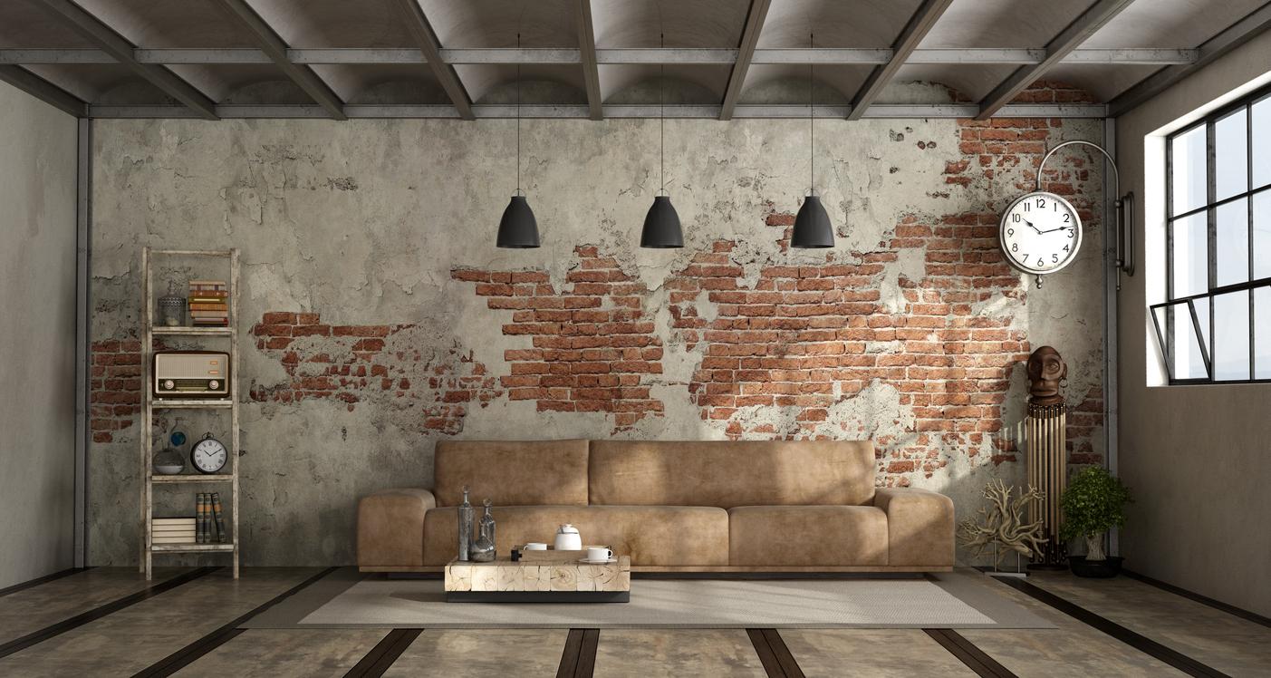 Eine Industrial-Einrichtung macht das Wohnzimmer zum ebenso gemütlichen wie sehenswerten Mittelpunkt der Wohnung.