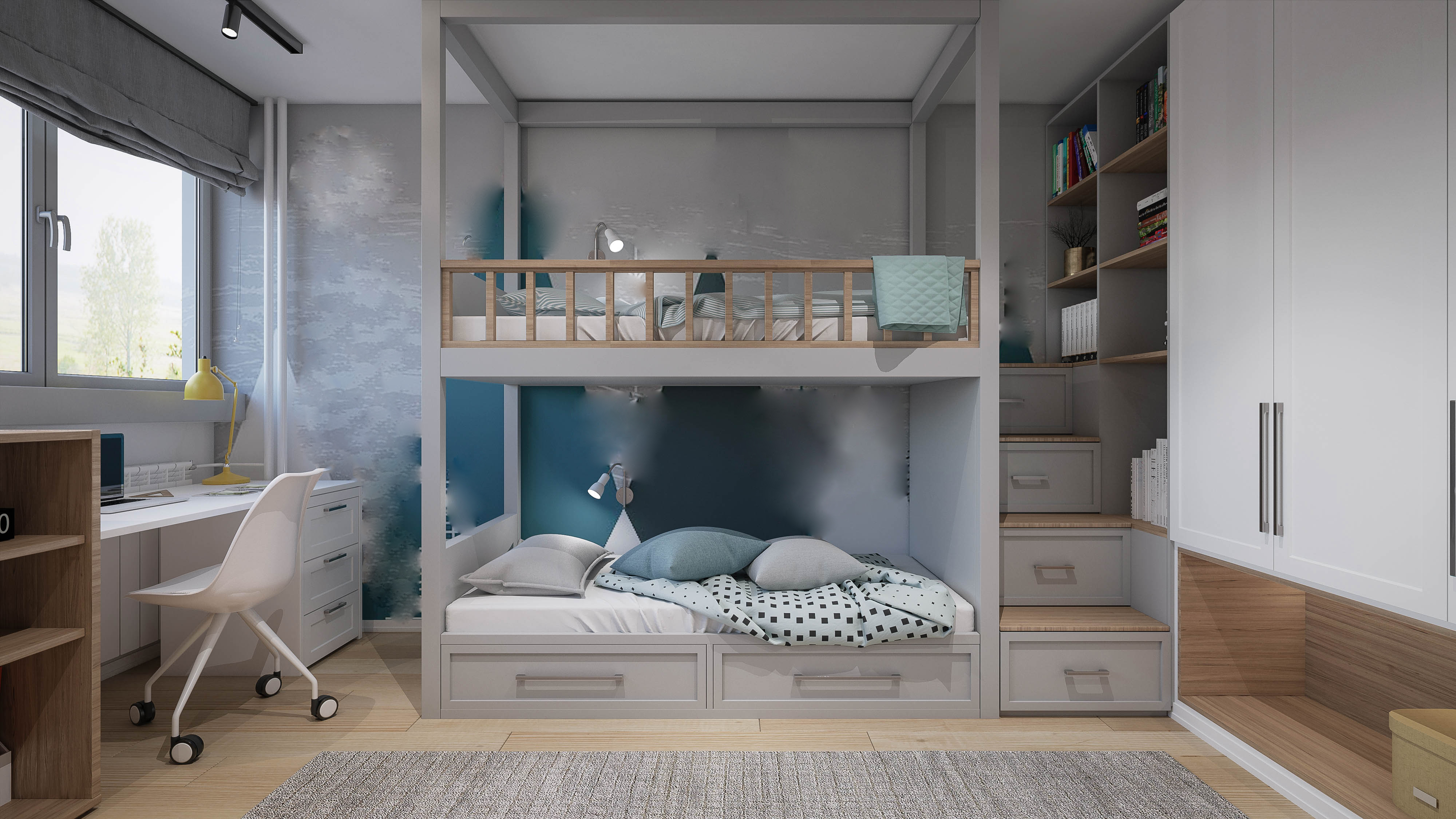 Ist der Wohnraum knapp, braucht man frische Ideen. Mit einem Hochbett können Sie Platz und Stauraum schaffen.