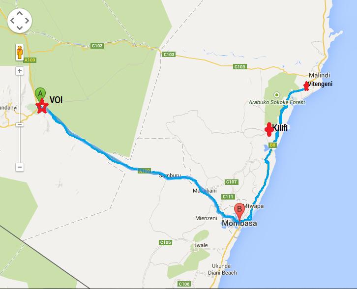Road Map from Voi - Mombasa -Kilifi then to Vitengeni