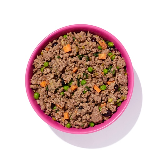 hot pink dog bowl filled with Ollie's beef recipe