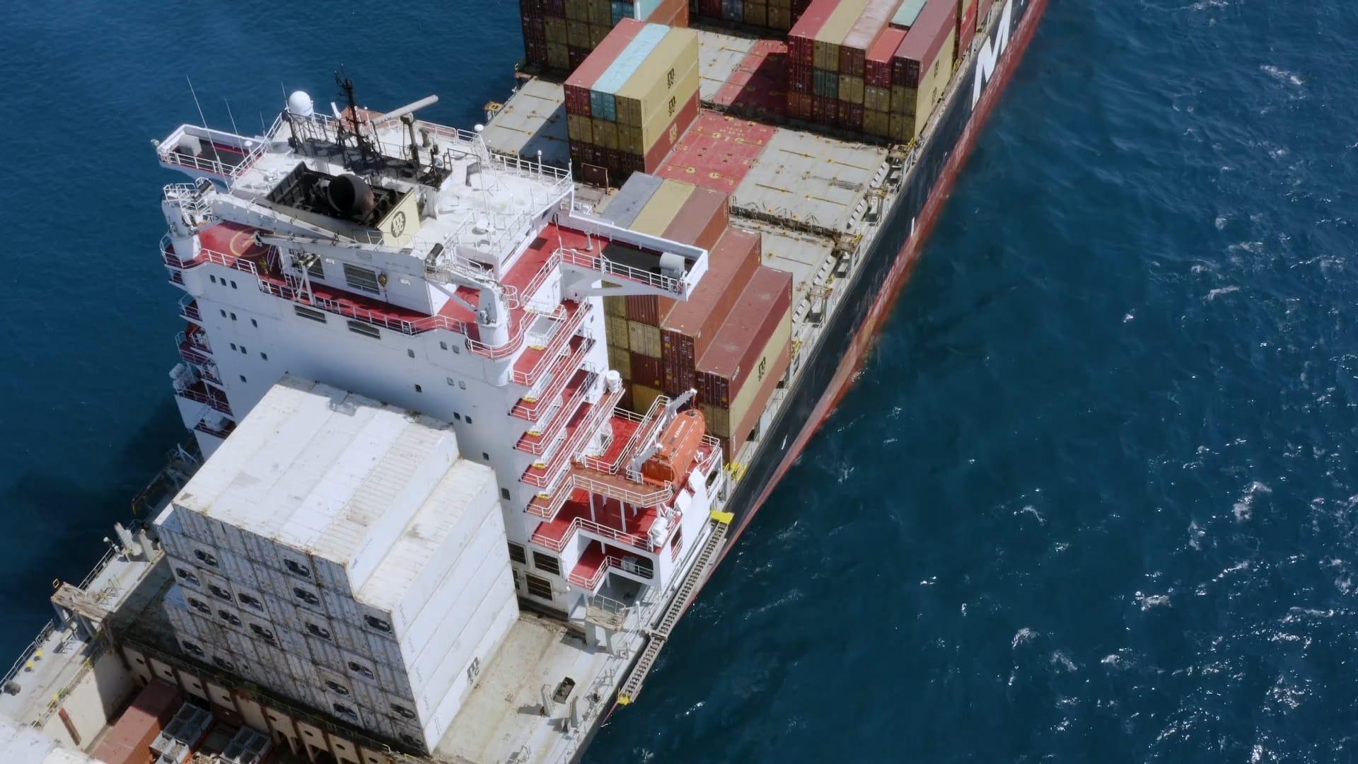 Freight ship on sea