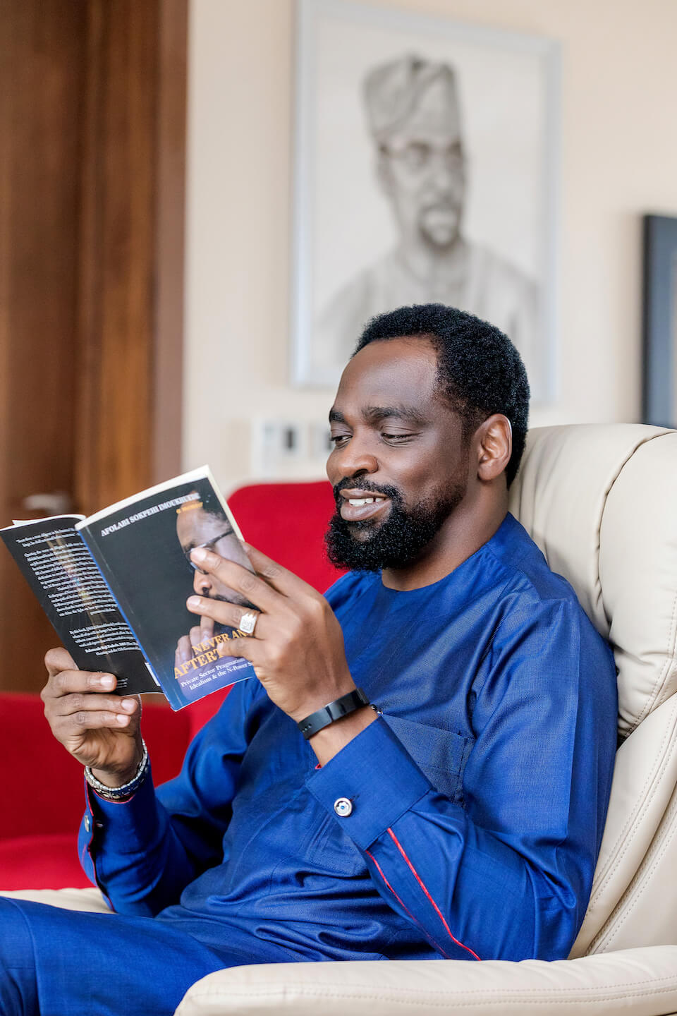 Afolabi Sokpehi Imoukhuede himself reading the Never An Afterthought book