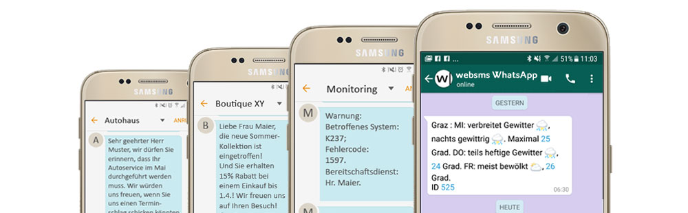 websms - Verschiedene Screenshots am Smartphone zeigen die Möglichkeiten durch Zusammenarbeit mit einem Mobile Messaging Anbieter wie Marketing, Monitoring oder Terminerinnerungen über SMS, WhatsApp und Co.