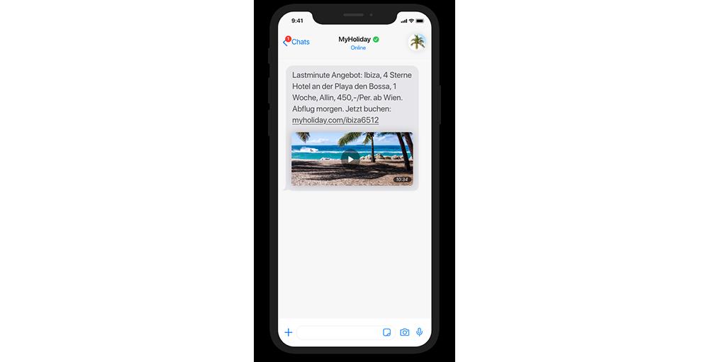 websms - Smartphone myholiday bietet Last Minute Angebot mittels Chat-Nachricht