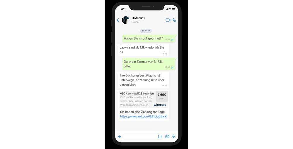 websms - Hotelbuchung und Bezahlung via Messenger am Smartphone
