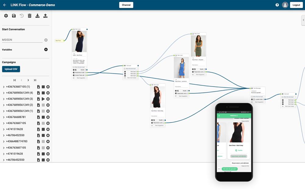 websms - einfach einen regelbasierten Chatbot erstellen mit dem LINK Flow Builder
