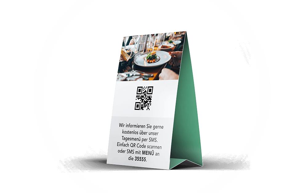 websms - Tischaufsteller mit QR-Code für Gastronomie