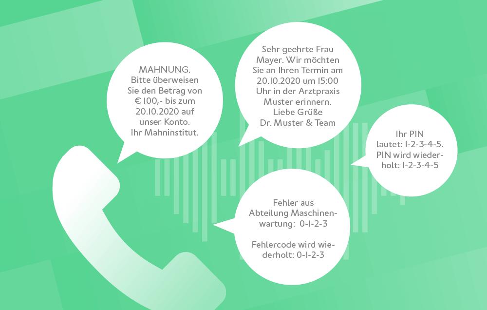 websms - SMS2Voice Beispiele: Fehlermeldungen, barrierefreie Übermittlung von Mahnungserinnerungen per Sprachanruf, Terminerinnerungen, PIN-Codes