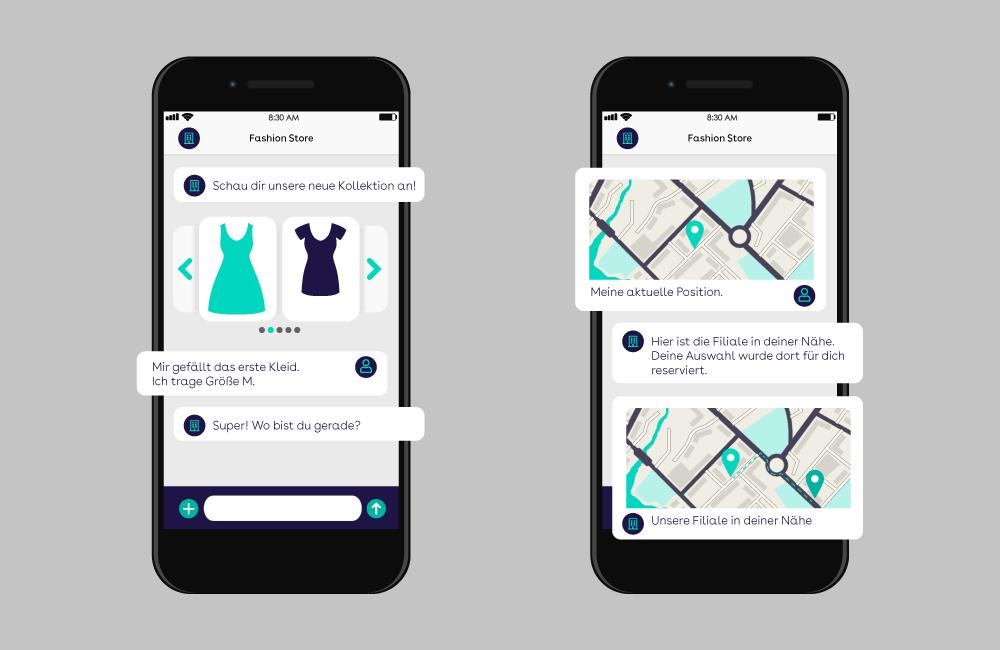 websms - Eine Beispiel-Konversation mit RCS verdeutlicht, welche Möglichkeiten Rich Communication Services bieten wie Produkt-Karussells und Standort-Übermittlung