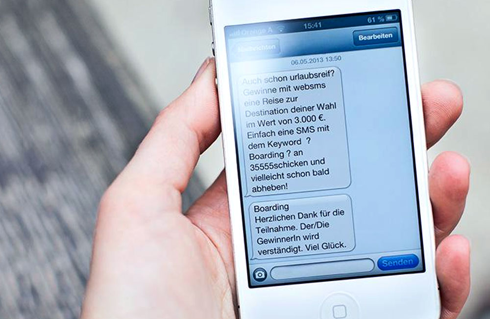websms - Boarding-Informationen werden über Mobile Messenger zugesendet