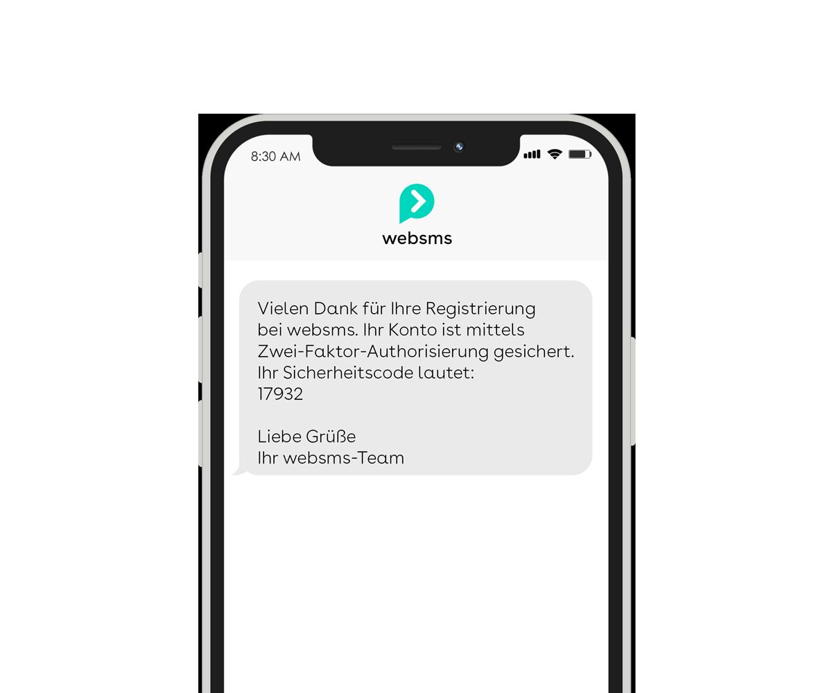 websms - Ein Beispiel für die Zusendung eines Zwei-Faktor-Sicherheitscodes mittels SMS