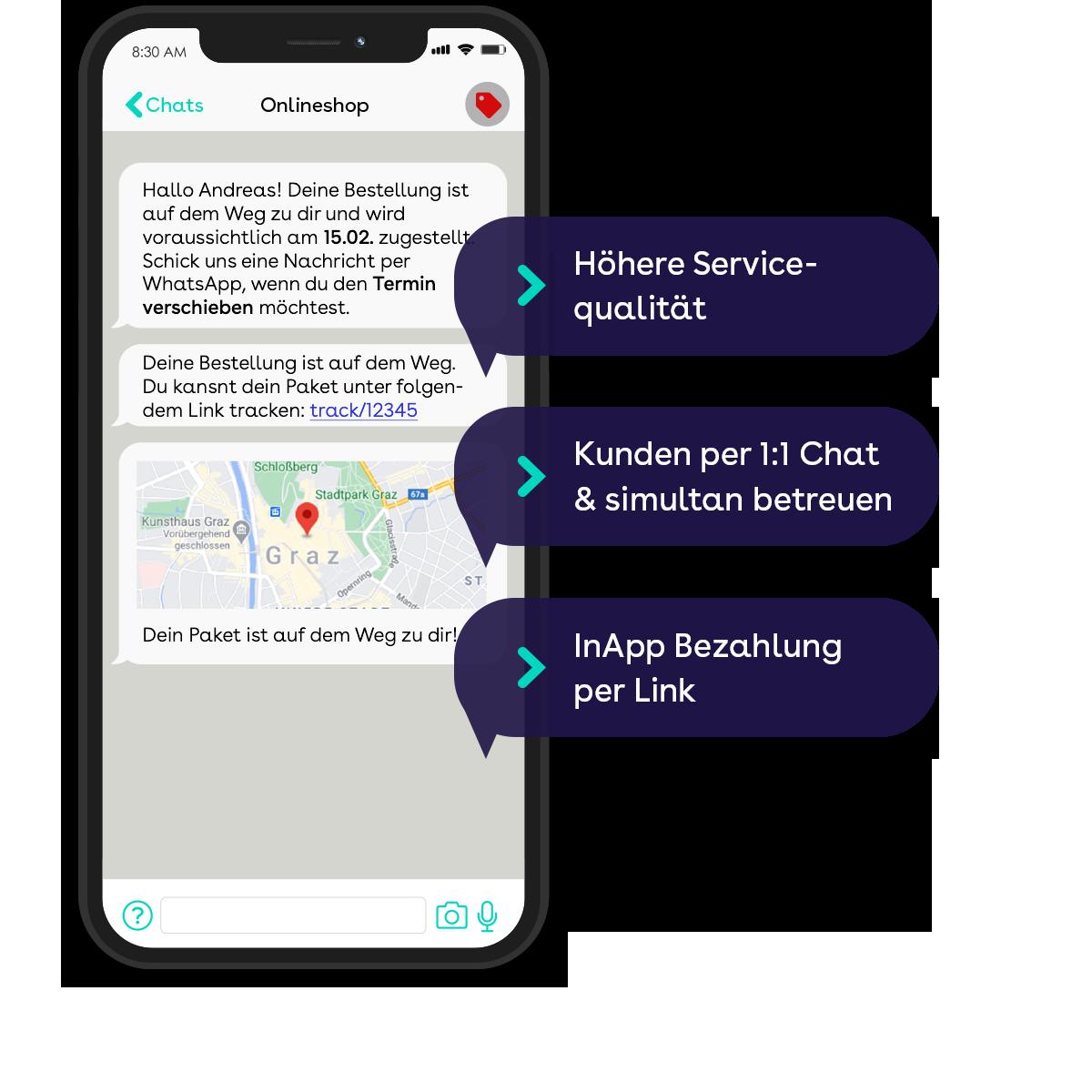 websms - Die Vorteile von WhatsApp: Höhere Servicequalität, Kunden per 1:1 Chat und simultan betreuen, InApp Bezahlung per Link