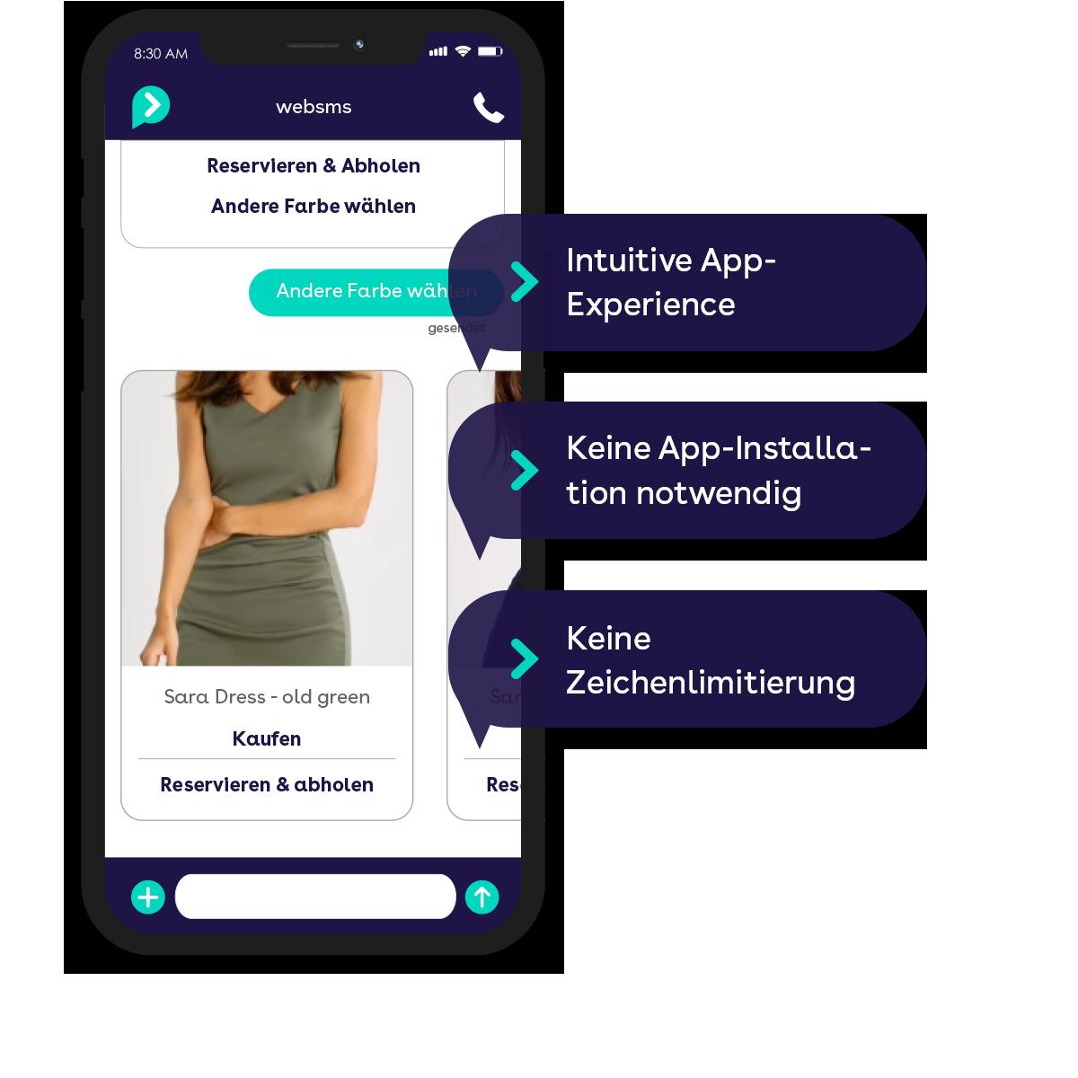 websms - Vorteile von Rich Communication Services: Sie bieten intuitive App-Experience. Es ist keine App-Installation nötig und es gibt keine Zeichenlimitierung