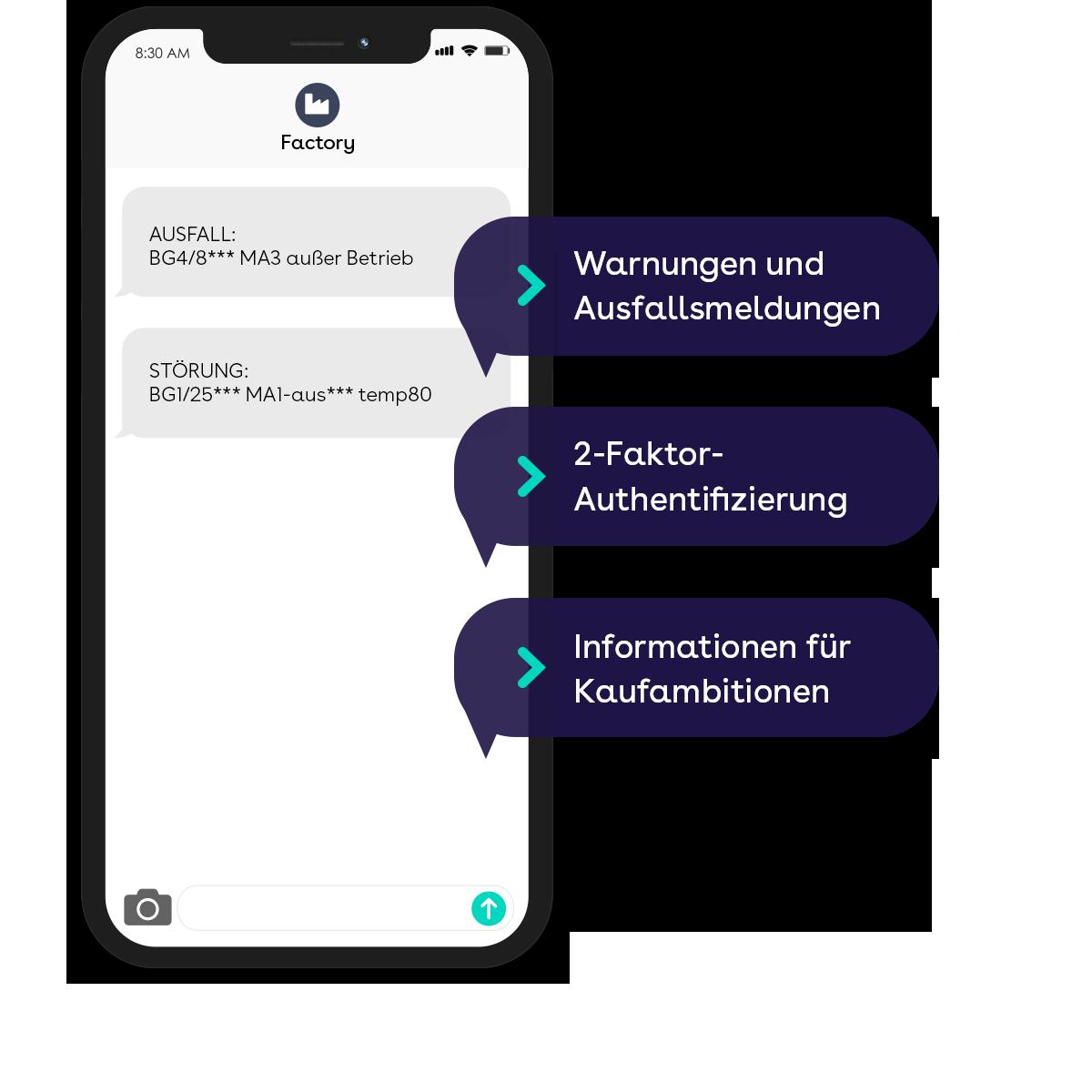 websms - Informationen für Kaufambitionen, 2-Faktor-Authentifizierung und Warnhinweise für Produktion und Industrie mittels SMS