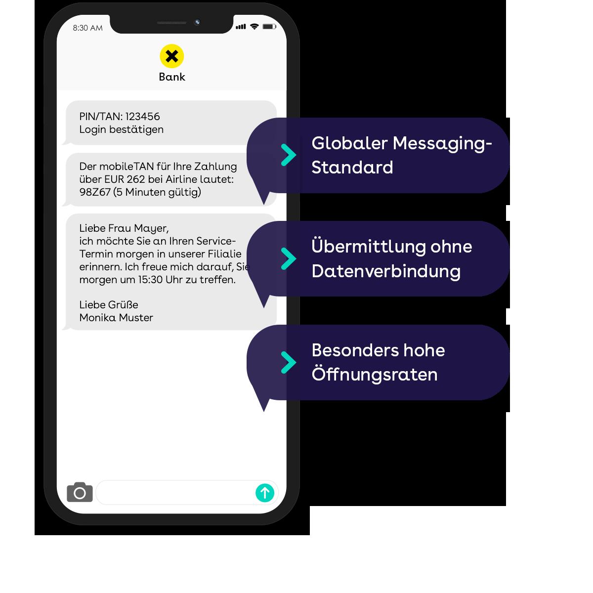websms - Die Vorteile von SMS: Globaler Messaging-Standard, Übertragung ohne Datenverbindung, Besonders höhe Öffnungsraten