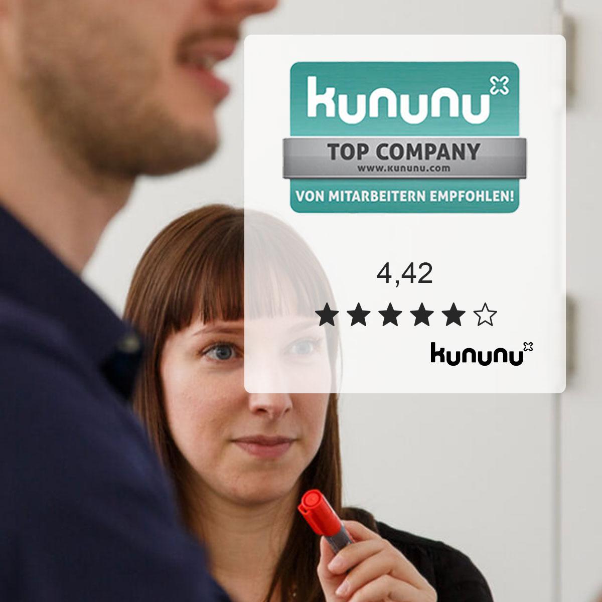 websms - websms wurde von kununu ald Top Company mit 4,42 von 5 Sternen ausgezeichnet