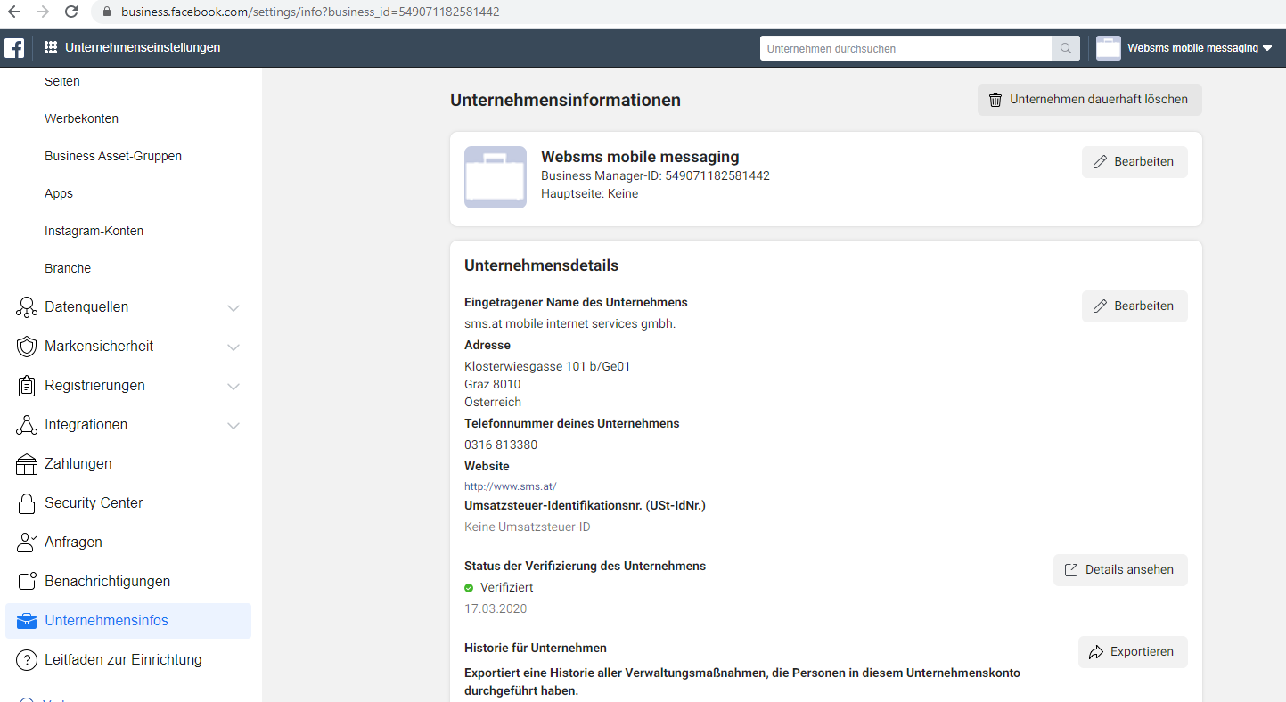 websms - Facebook Business Manager Unternehmensinformationen