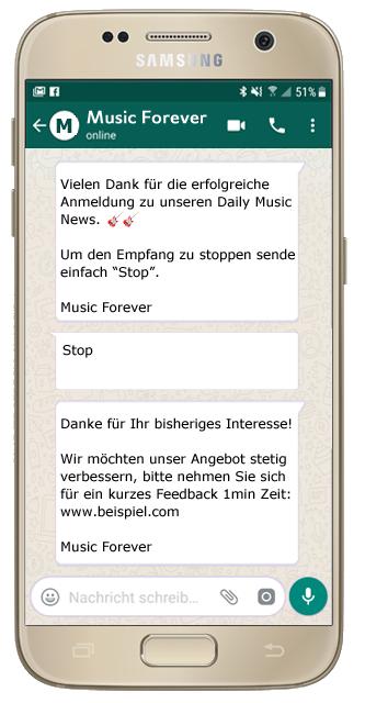 websms - automatisierte Verabschiedungen mittels WhatsApp Business einrichten