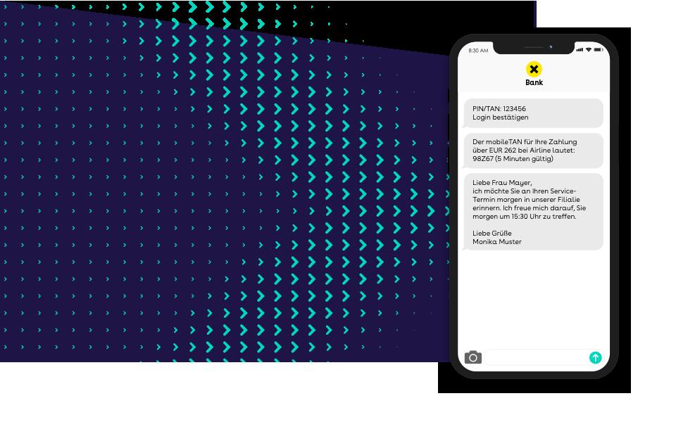 websms - SMS ermöglicht die sichere PIN- und TAN-Zusendung, Terminerinnerung vom Bankberater