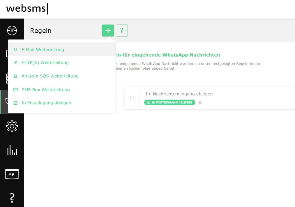 websms - Messaging Suite Oberfläche zur Regelverwaltung wie beispielsweise E-Mail Weiterleitung