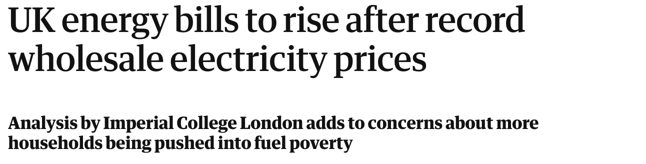 headline reading UK energy bills to rise after record wholesale energy prices