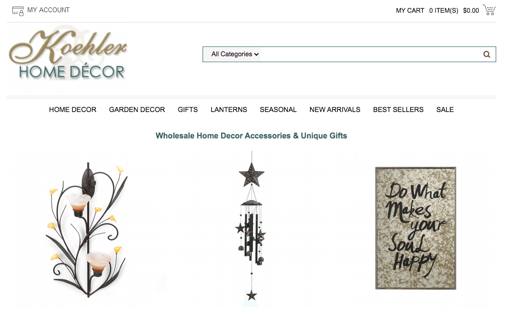 Koehler Home Decor homepage