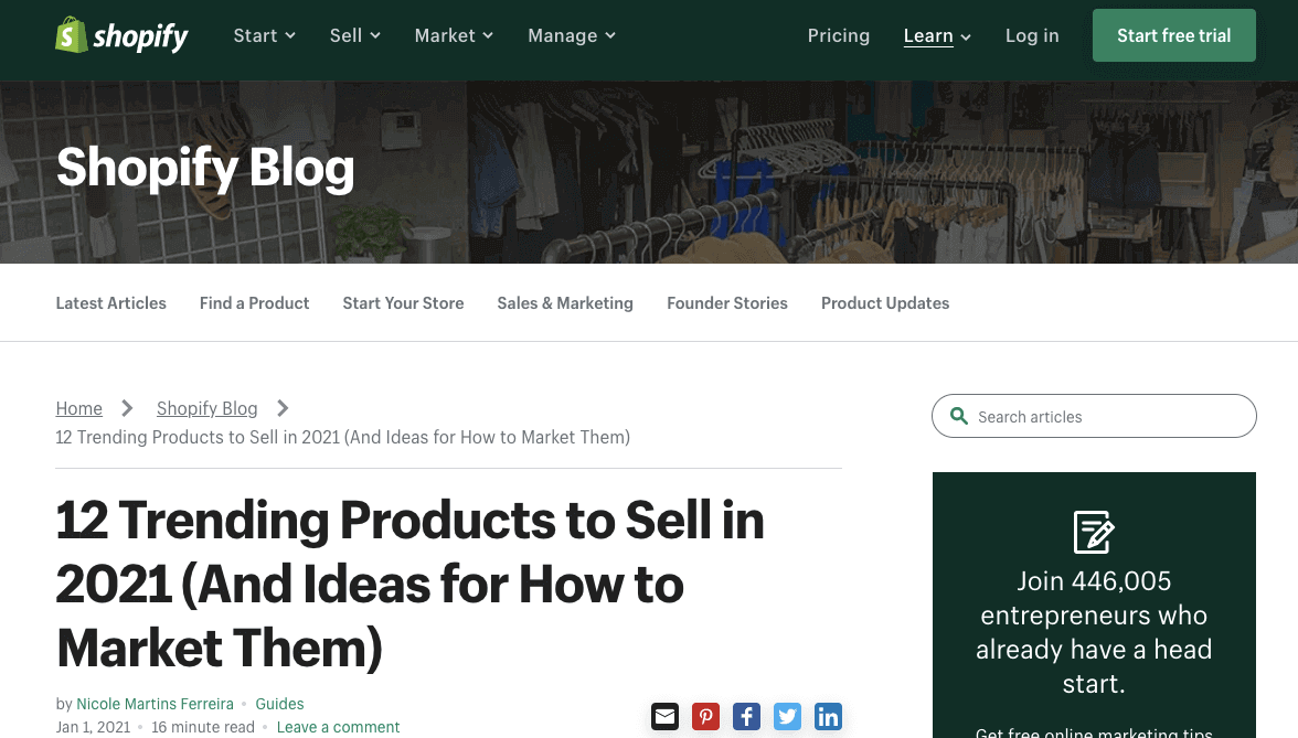 Shopify's trending products to sell