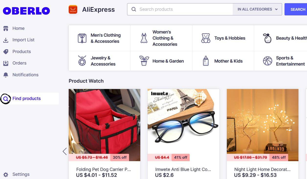 Oberlo Finding Products Page