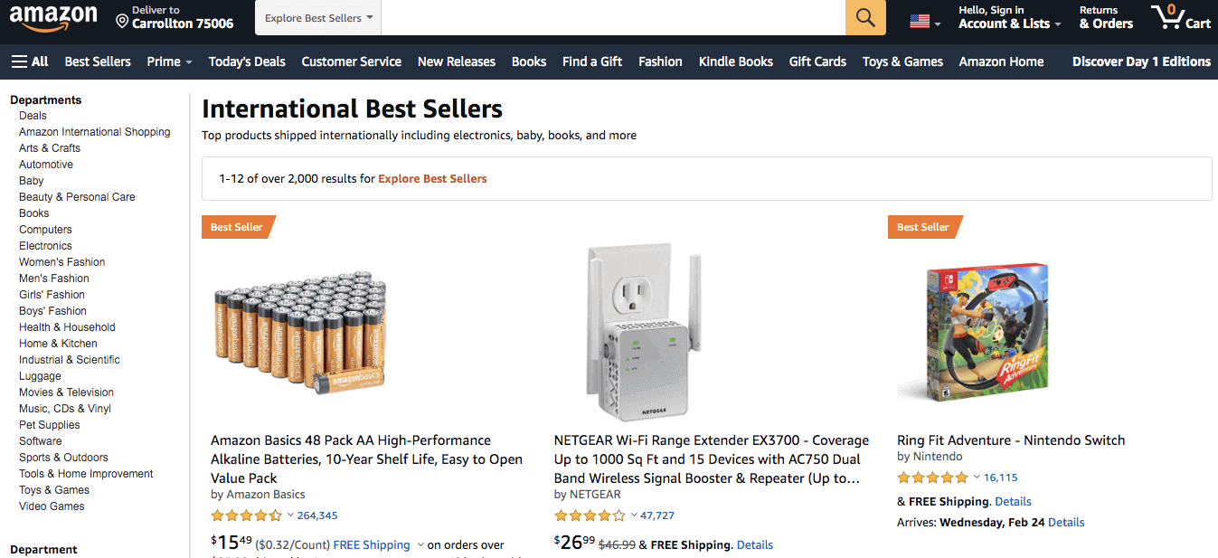 Amazon Top-selling products