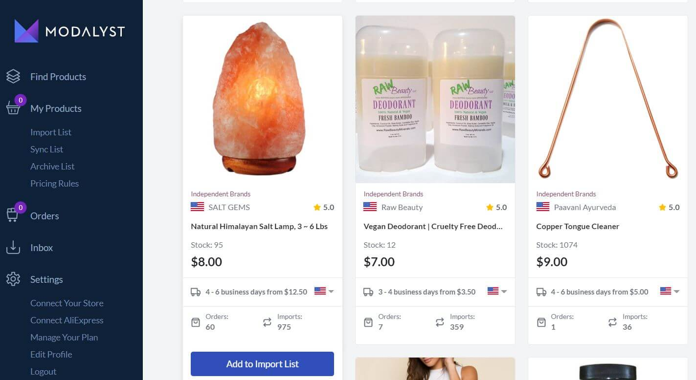 Modalyst add products