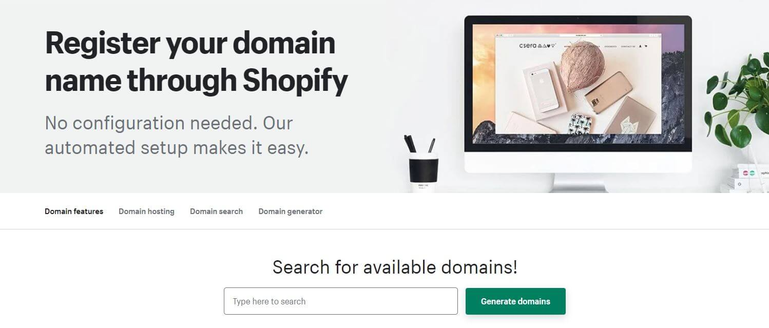 register domain with Shopify