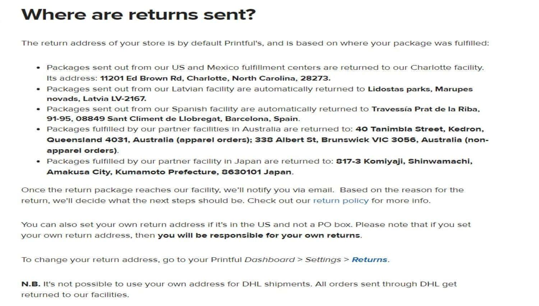 Printful Where Are Returns Sent