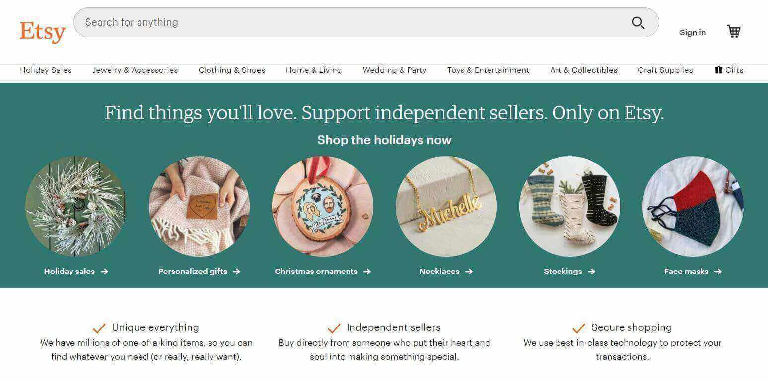Etsy Homepage