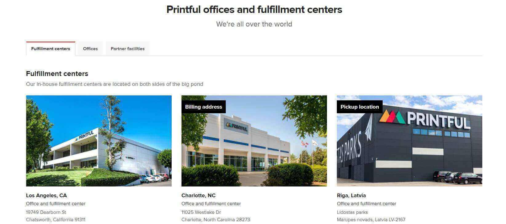 Printful Fulfillment Centers