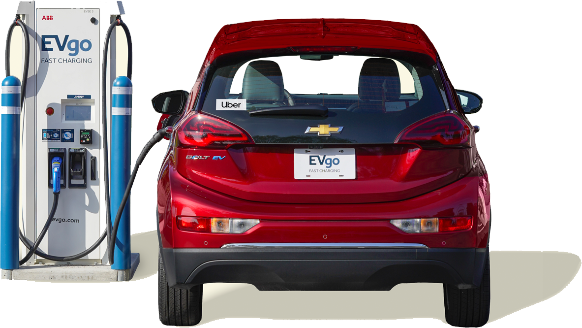 Red chevy bolt charging at EVgo charger